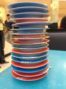 pile 'o sushi plates post chow fest at the conveyor belt 'o sushi in DC...YUM!